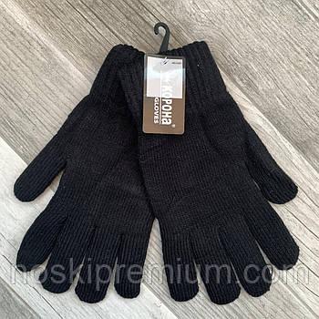 Перчатки мужские шерстяные двойные с начёсом Корона, длина 25 см, размер XXL, чёрные, 8114