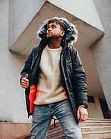 Чоловіча зимова куртка олива з капюшоном з хутром, фото 1