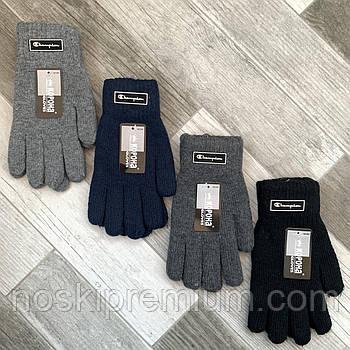 Перчатки мужские шерстяные двойные с начёсом Корона Champion, длина 23 см, ассорти, 8190