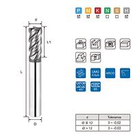Фреза твердосплавна кінцева 4F Ø12.0 мм для гартованих сталей з твердістю до HRC 65