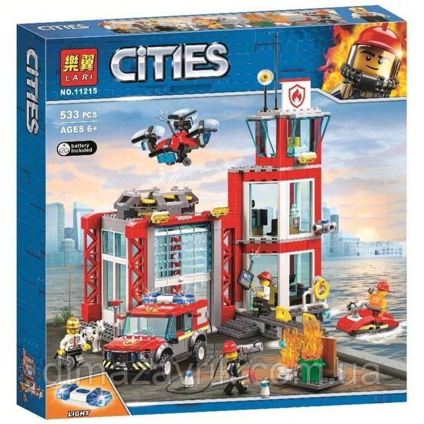 """Конструктор Bela 11215 (Аналог Lego City 60215) """"Пожарное депо""""533 детали"""