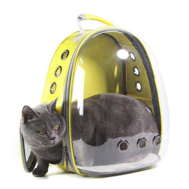 Рюкзак переноска для кошки собаки Желтый, сумка для кота собак и домашних животных прозрачный, рюкзаки с иллюминатором переноски Cosmopet Upet AnimAll