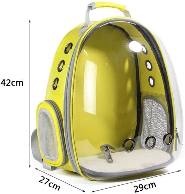 Размеры рюкзака для котов и собак Желтый, просторная сумка переноска для животных - 29х27х42 см