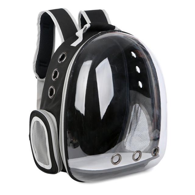 Рюкзак переноска для кошки собаки Черный, сумка для кота собак и домашних животных прозрачный, рюкзаки с иллюминатором переноски Cosmopet Upet AnimAll