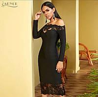 Стильне жіноче плаття «Мілан» з дорогим мереживом, фото 1