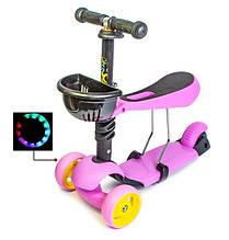 Самокат беговел scooter Smart 3в1 розовый.