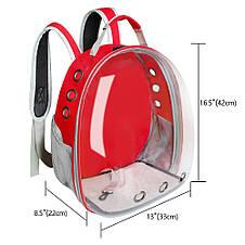 Рюкзак переноска для кішки собаки Червоний, сумка для кота собак і домашніх тварин прозорий рюкзаки з ілюмінатором перенесення Cosmopet Upet AnimAll, фото 2