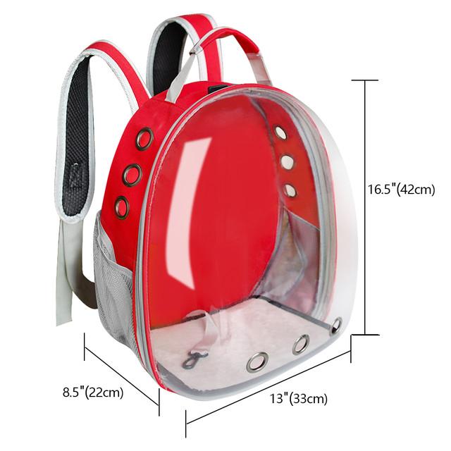 Размеры рюкзака для котов и собак Красный, просторная сумка переноска для животных - 29х27х42 см