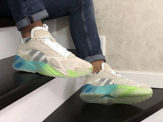 Бежевые мужские кроссовки на яркой подошве 8813, фото 2