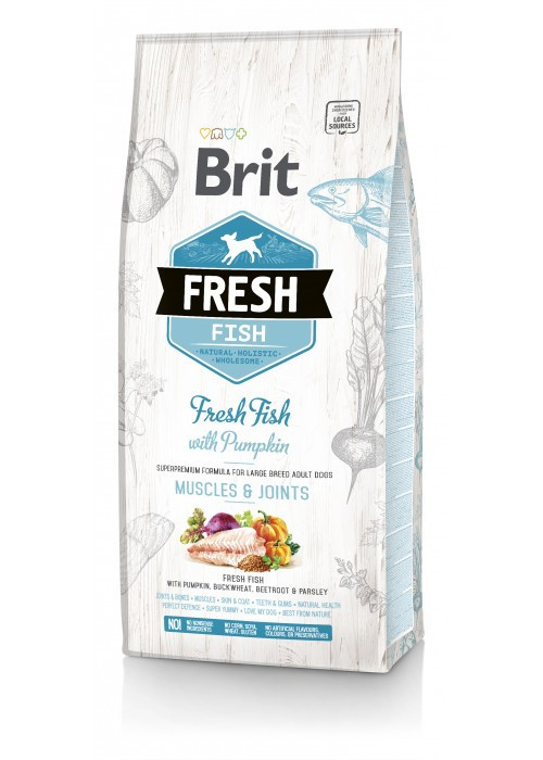 Корм для собак Brit Fresh Fish/Pumpkin Adult Large (для дорослих собак великих порід) 12кг