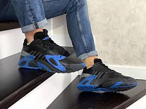 Мужские кроссовки черные с синим 15\8817, фото 3