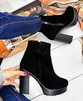 Черные ботинки на каблуке из натуральной замши