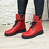 Ботинки на утолщенной подошве, на шнурках, из натуральной кожи флотар красного цвета, фото 2