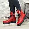 Ботинки на утолщенной подошве, на шнурках, из натуральной кожи флотар красного цвета, фото 3