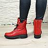 Ботинки на утолщенной подошве, на шнурках, из натуральной кожи флотар красного цвета, фото 4