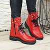 Ботинки на утолщенной подошве, на шнурках, из натуральной кожи флотар красного цвета, фото 6