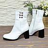 Ботинки белые кожаные на высоком устойчивом каблуке, фото 2