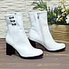 Ботинки белые кожаные на высоком устойчивом каблуке, фото 3