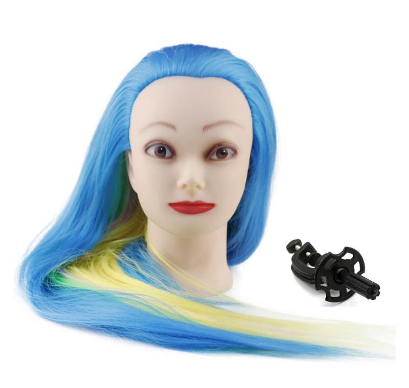 Голова для причесок с искусственными цветными волосами №7