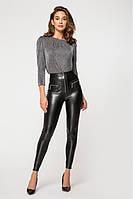 Трендовые женские брюки из эко-кожи на меху /черные, 42-46, PF-3122/
