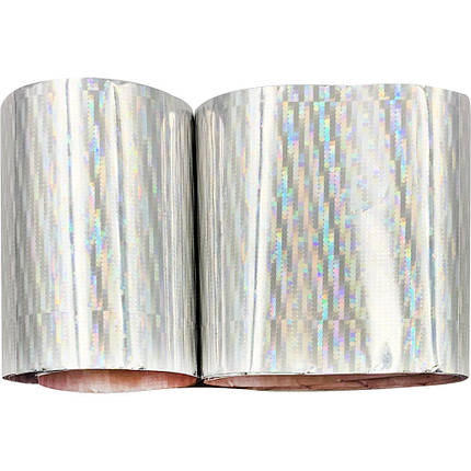 Фольга для дизайну нігтів в баночці 1 м. СРІБНІ СМУЖКИ., фото 2