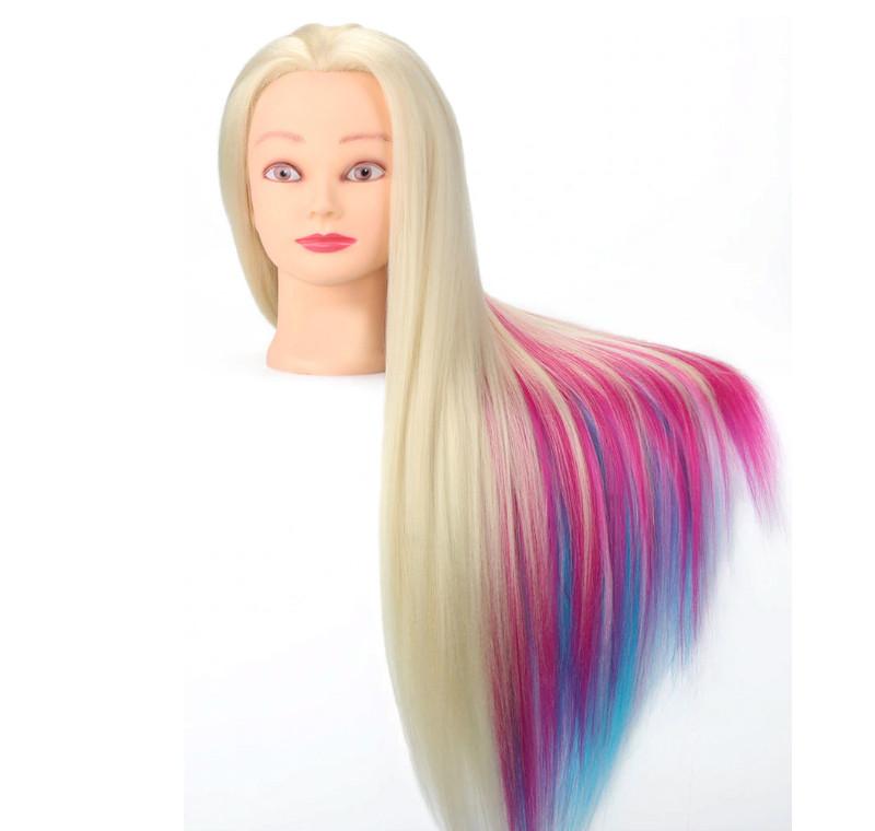 Голова для причесок с искусственными цветными волосами №8