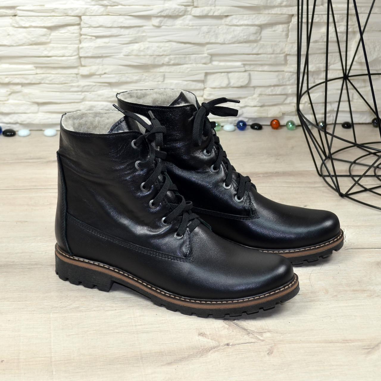 Женские ботинки на шнуровке, натуральная черная кожа