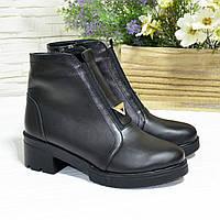 Полуботинки женские кожаные на невысоком каблуке, цвет черный, фото 1