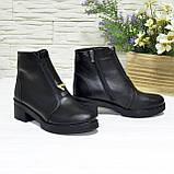 Полуботинки женские кожаные на невысоком каблуке, цвет черный, фото 2