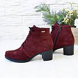 Ботинки замшевые женские на невысоком каблуке, цвет бордо, фото 3