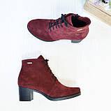 Ботинки замшевые женские на невысоком каблуке, цвет бордо, фото 4