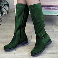 Сапоги замшевые женские на низком ходу, цвет зеленый, фото 1