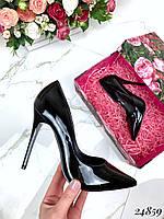 Туфли лодочки лакированные черные