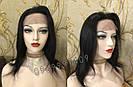💎Чёрный парик из натуральных волос с шелковой вставкой💎 (имитация кожи головы), фото 2