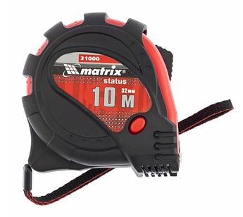 Рулетка Status magnet 3 fixations, 10 м х 32 мм, обрезиненный корпус, зацеп с магнитом MTX (310009)
