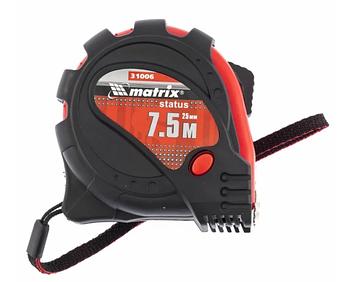 Рулетка Status magnet 3 fixations, 7,5 м х 25 мм, обрезиненный корпус, зацеп с магнитом MTX (310069)