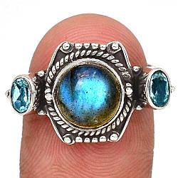 Серебряное кольцо с лабрадором, 2184КЦЛ