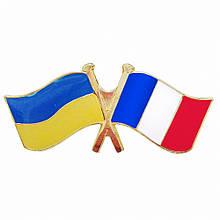 Значок 2 флага Украина-Франция