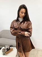 Кожаная женская рубашка