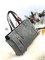 Большая серая замшевая женская сумка городская вместительная шоппер молодежная замша+экокожа, фото 1