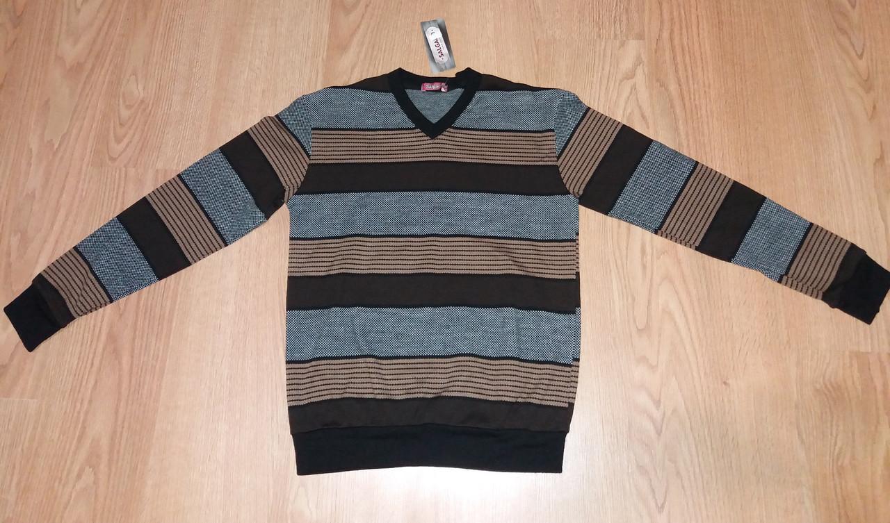 Мужской свитер Salgado полоска коричневый р.48,52