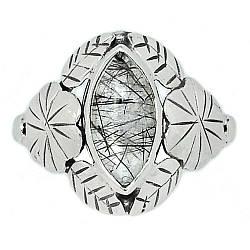 Серебряное кольцо с волосатиком турмалиновым кварцем, 2190КЦВ