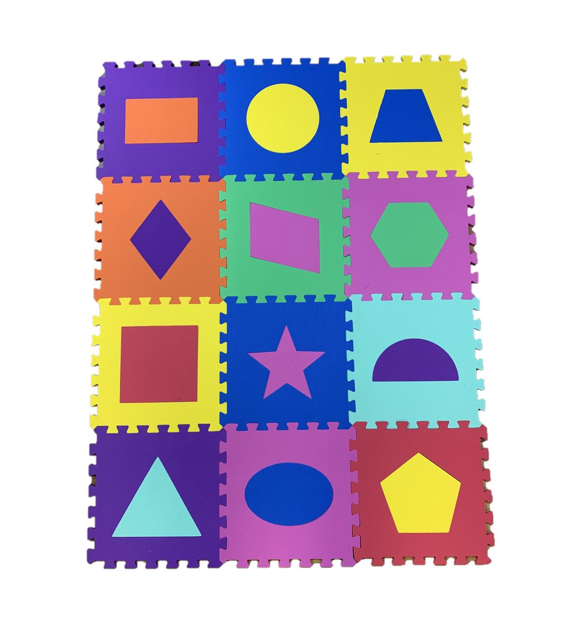 "Детский коврик-пазл  ""Веселая геометрия"" набор из EVA120х90х1см"