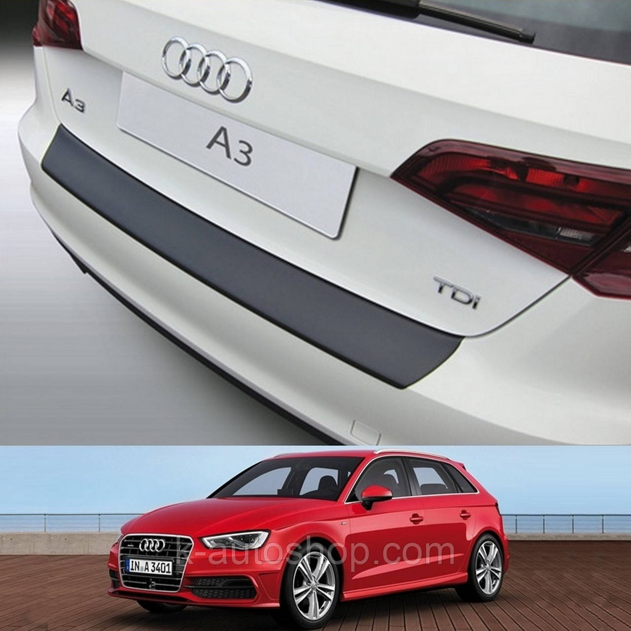 Пластиковая защитная накладка на задний бампер для Audi A3 / S3 5Dr Sportback 2012+