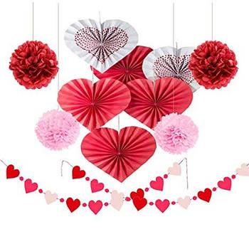Бумажный декор к Св Валентина: помпоны, веера, гирлянды