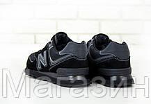 Женские кроссовки New Balance 574 Black (Нью Баланс 574) черные, фото 2