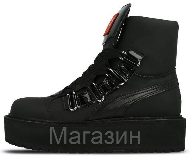 Женские кроссовки ботинки Puma Fenty Rihanna Sneaker Boot Black высокие Пума Фенти Рианна на платформе черные