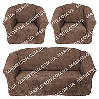 Комплект универсальных, натяжных чехлов Без юбки (без оборки, без рюши) на Диван и 2 кресла