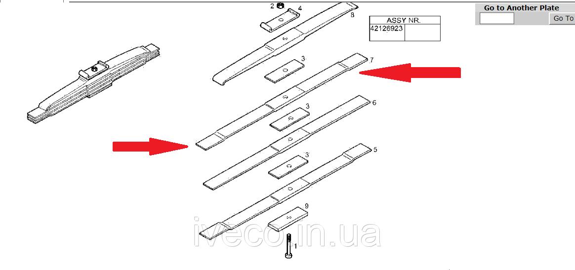 Лист рессоры задней №3 Iveco Eurotrakker Trakker Ивеко Евротраккер 67177003 42126926 второй сверху