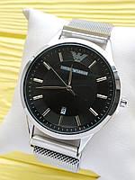 Наручные часы Emporio Armani (Эмпорио Армани) на сетчатом ремешке с магнитом, серебряные с черным, CW519